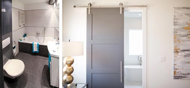 Hangende toilet en schuifdeur kleine badkamer