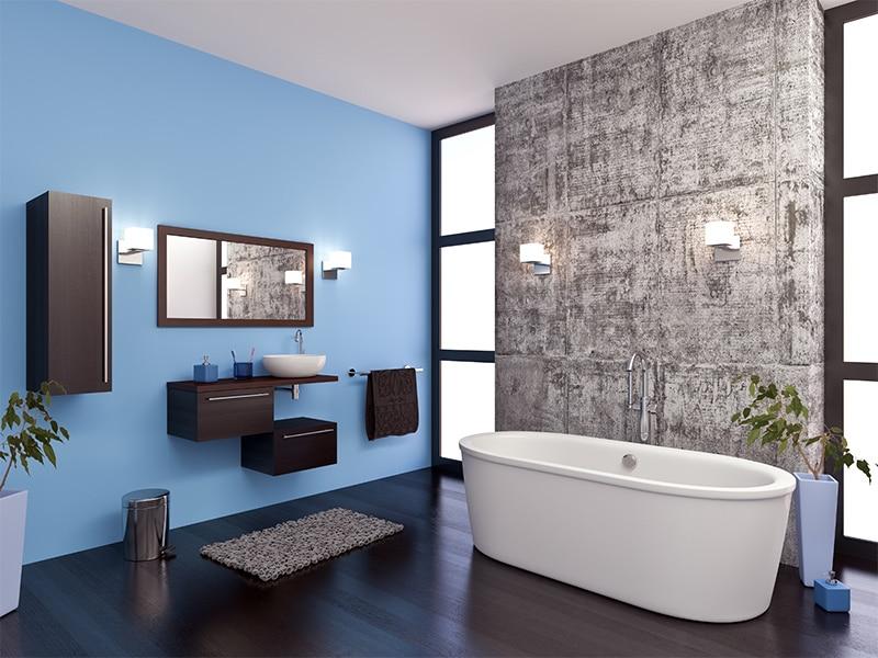 moderne badkamer met koele kleuren